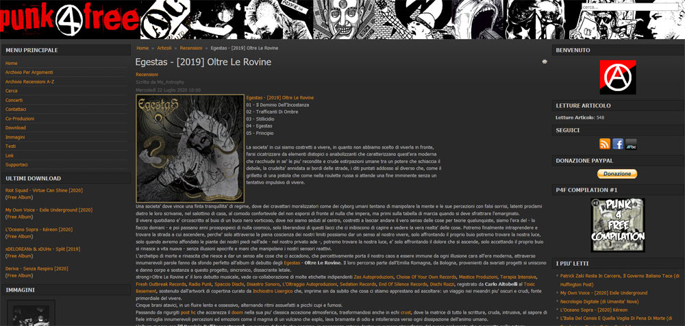 """Punk4free: recensione e free download di """"OLTRE LE ROVINE"""" degli Egestas"""