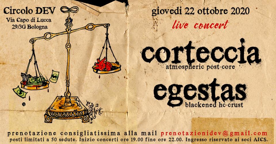 Egestas & Corteccia live al circolo DEV di Bologna