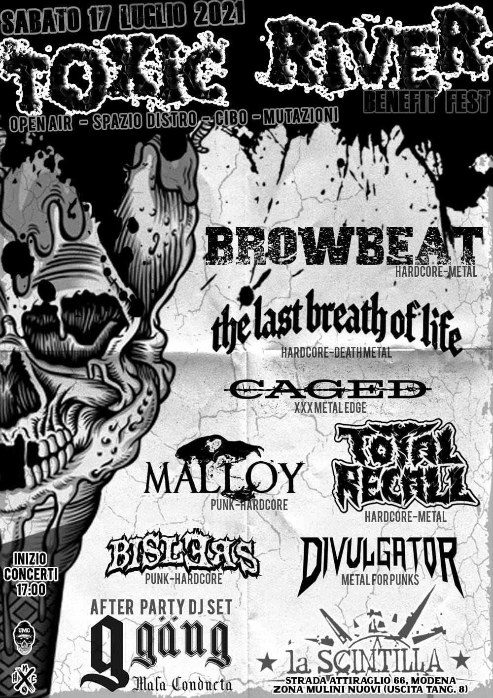 TOXIC RIVER benefit fest w/ browbeat, the last breat of life, Caged, Malloy, Total recall, Bislers, Divulgator . After party by G-gang